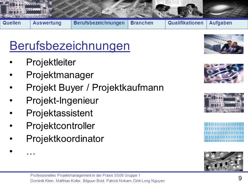 Berufsbezeichnungen Projektleiter Projektmanager
