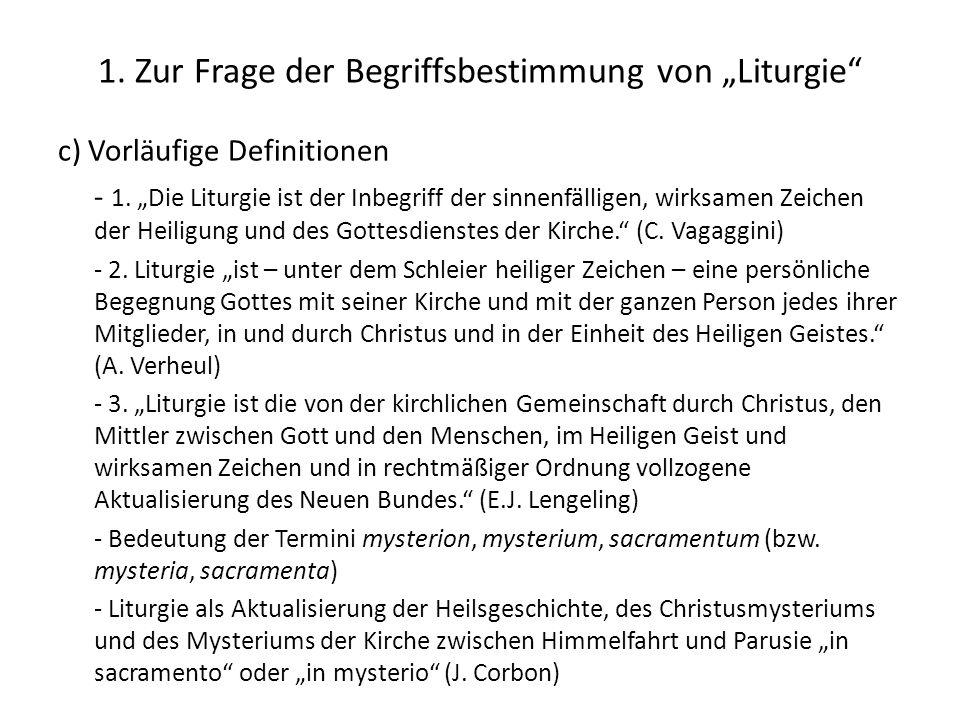 """1. Zur Frage der Begriffsbestimmung von """"Liturgie"""