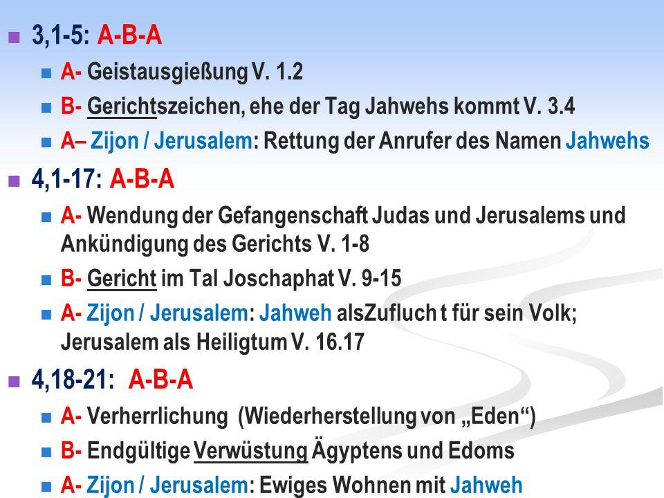 3,1-5: A-B-A 4,1-17: A-B-A 4,18-21: A-B-A A- Geistausgießung V. 1.2