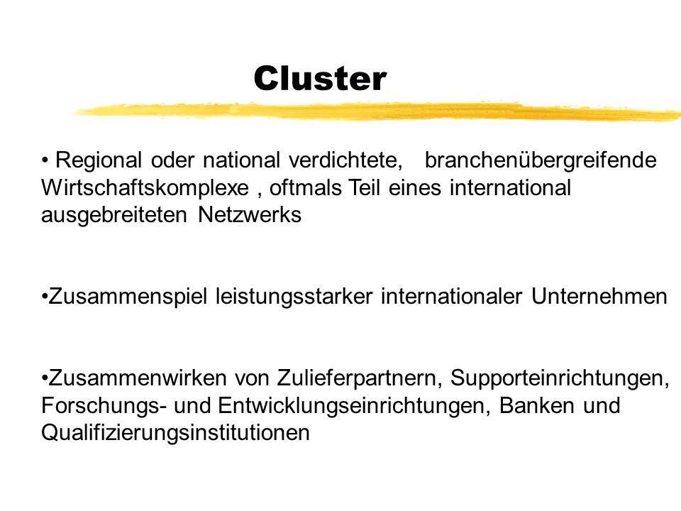 Cluster Regional oder national verdichtete, branchenübergreifende Wirtschaftskomplexe , oftmals Teil eines international ausgebreiteten Netzwerks.