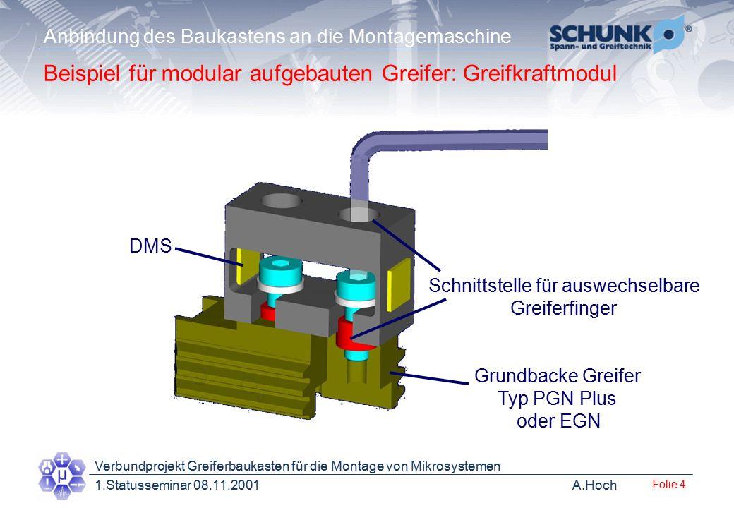 Beispiel für modular aufgebauten Greifer: Greifkraftmodul