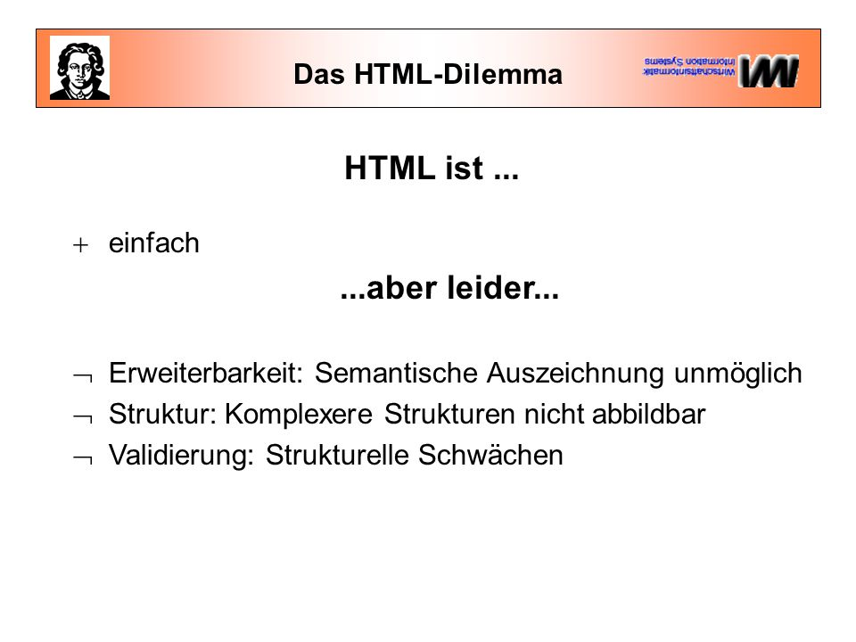 HTML ist ... ...aber leider... Das HTML-Dilemma einfach