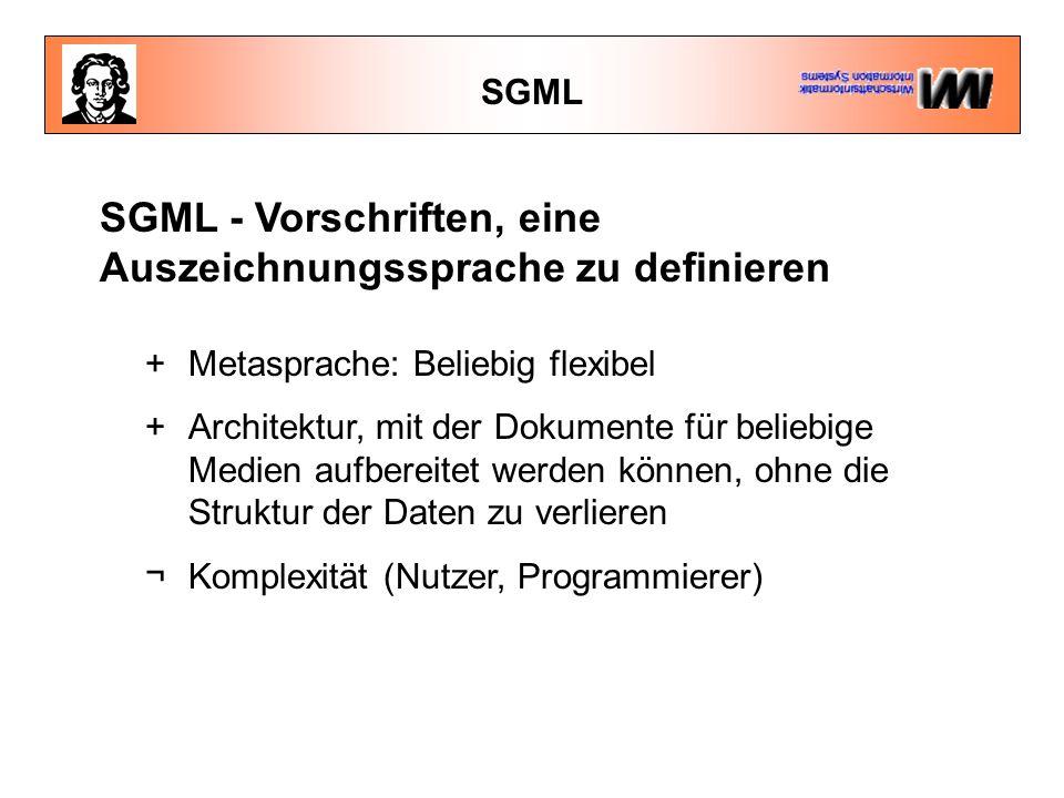 SGML - Vorschriften, eine Auszeichnungssprache zu definieren