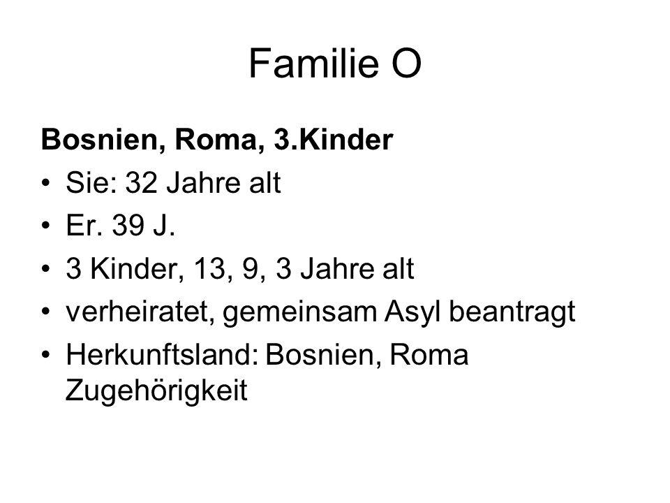 Familie O Bosnien, Roma, 3.Kinder Sie: 32 Jahre alt Er. 39 J.