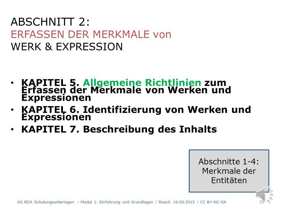 Abschnitte 1-4: Merkmale der Entitäten