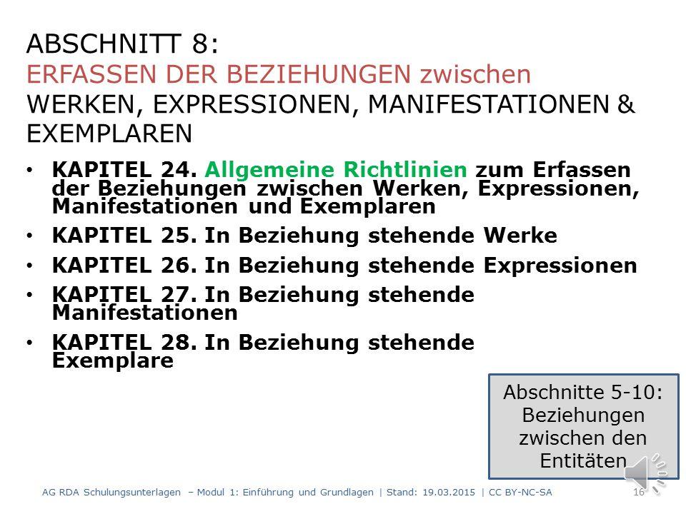 Abschnitte 5-10: Beziehungen zwischen den Entitäten