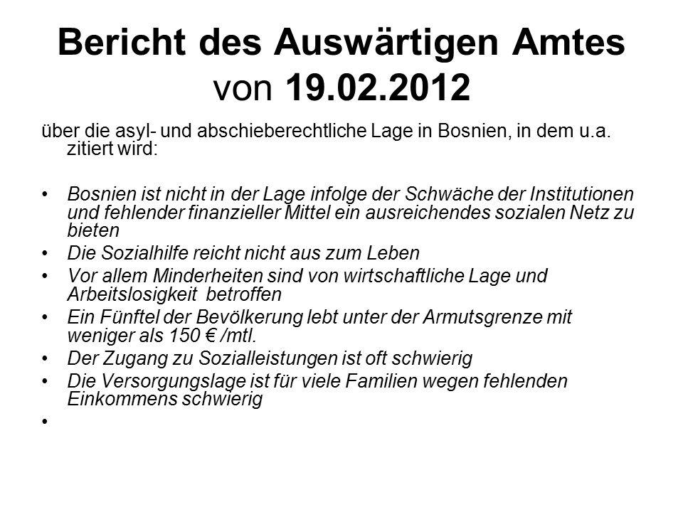 Bericht des Auswärtigen Amtes von 19.02.2012
