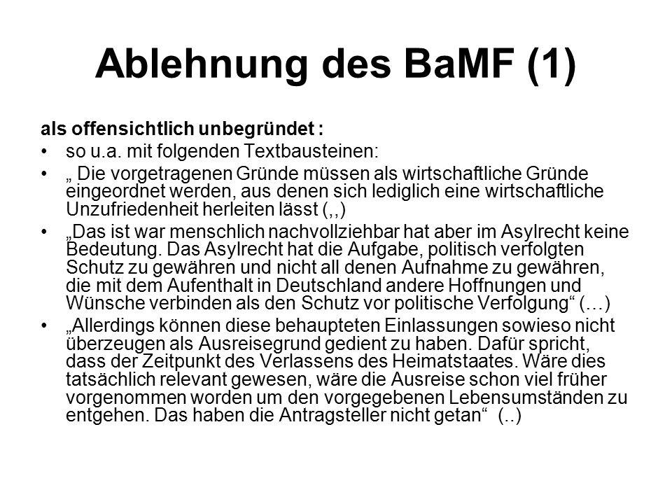Ablehnung des BaMF (1) als offensichtlich unbegründet :