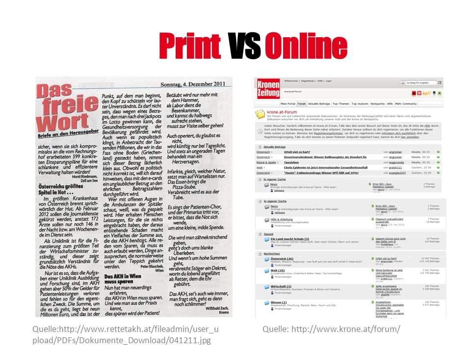Print VS Online Quelle:http://www.rettetakh.at/fileadmin/user_upload/PDFs/Dokumente_Download/041211.jpg.