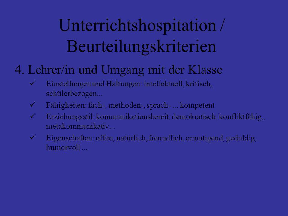 Unterrichtshospitation / Beurteilungskriterien