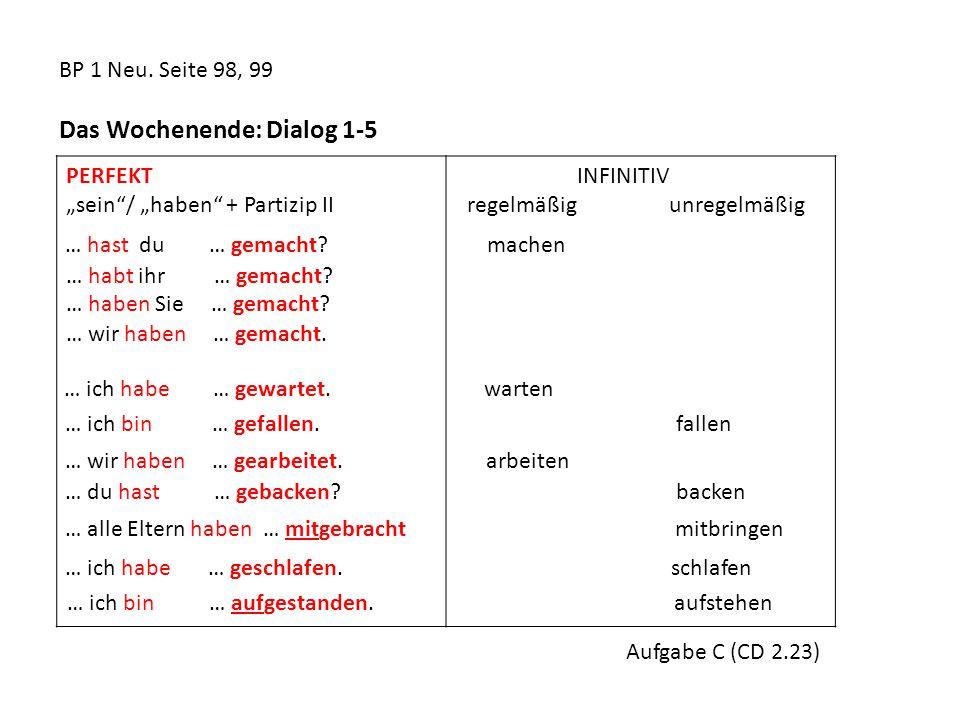 BP 1 Neu. Seite 98, 99 Das Wochenende: Dialog 1-5