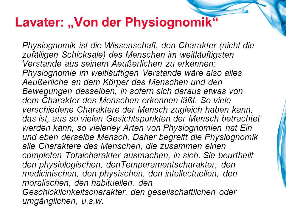 """Lavater: """"Von der Physiognomik"""