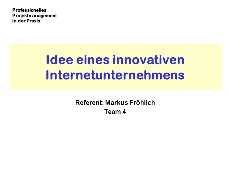 Idee eines innovativen Internetunternehmens