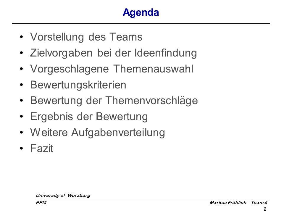 Zielvorgaben bei der Ideenfindung Vorgeschlagene Themenauswahl