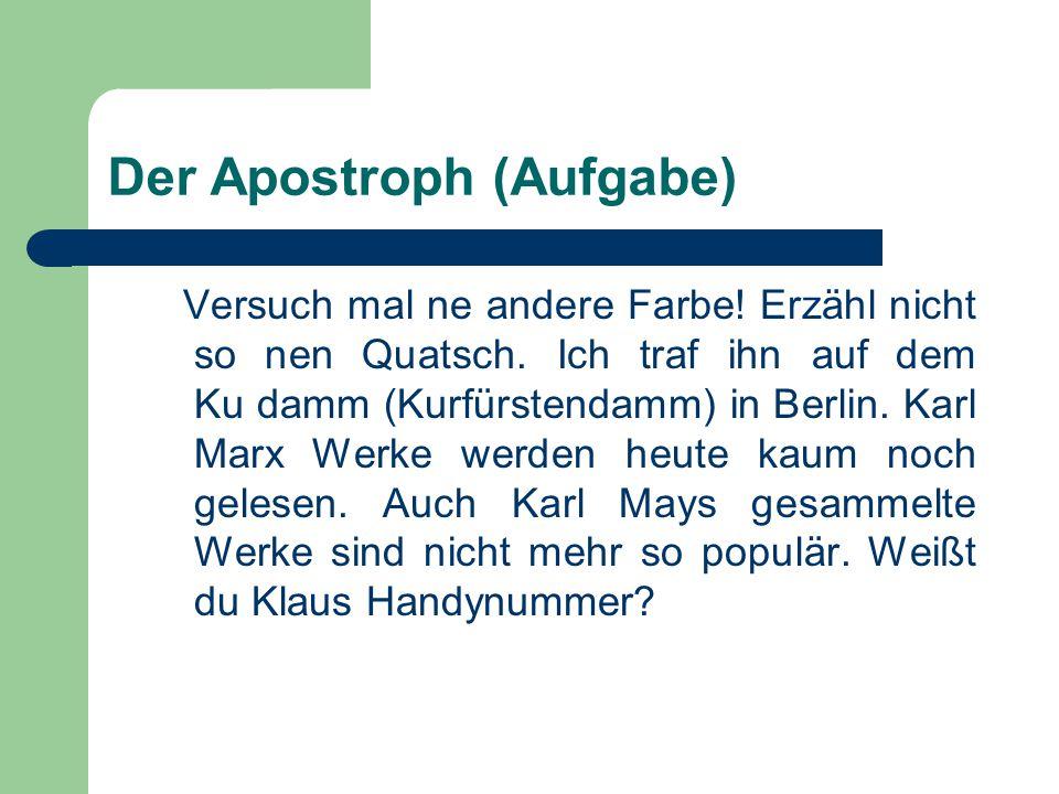 Der Apostroph (Aufgabe)