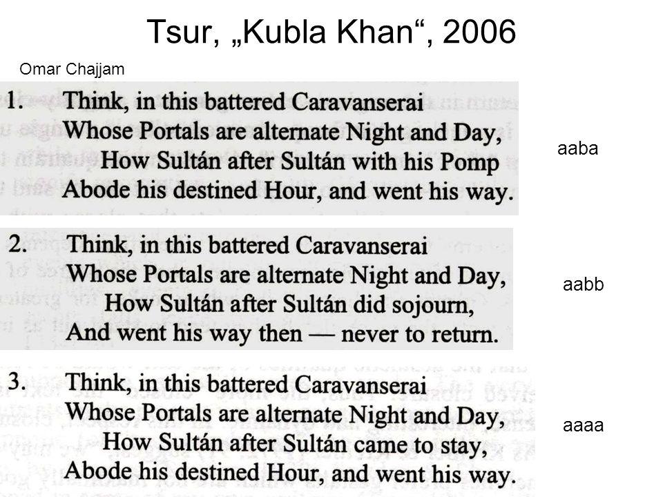 """Tsur, """"Kubla Khan , 2006 Omar Chajjam aaba aabb aaaa"""