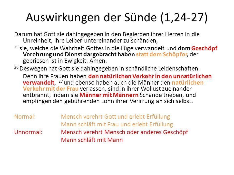 Auswirkungen der Sünde (1,24-27)