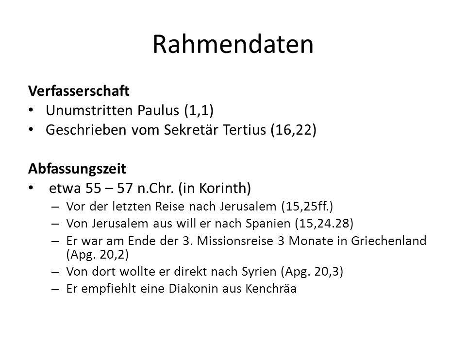 Rahmendaten Verfasserschaft Unumstritten Paulus (1,1)