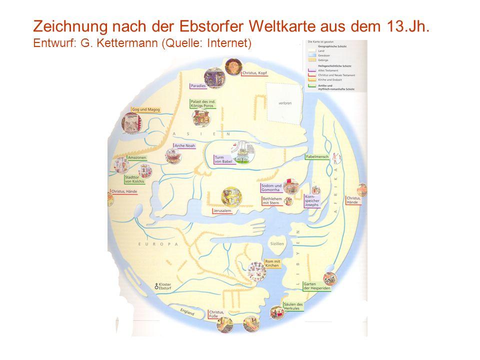 Zeichnung nach der Ebstorfer Weltkarte aus dem 13.Jh.