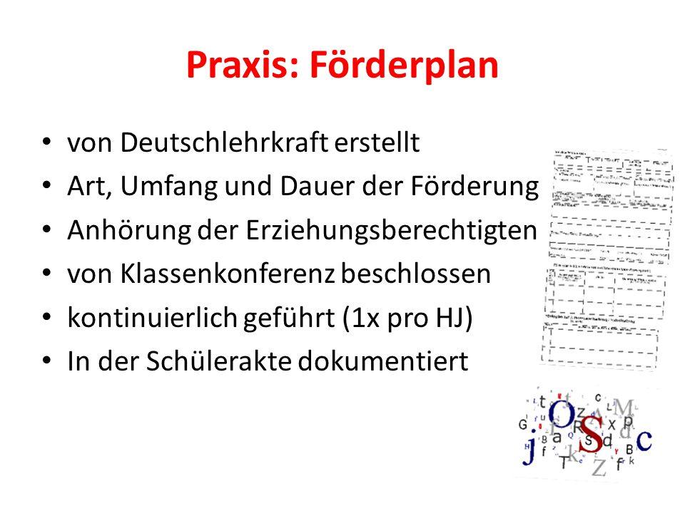 Praxis: Förderplan von Deutschlehrkraft erstellt