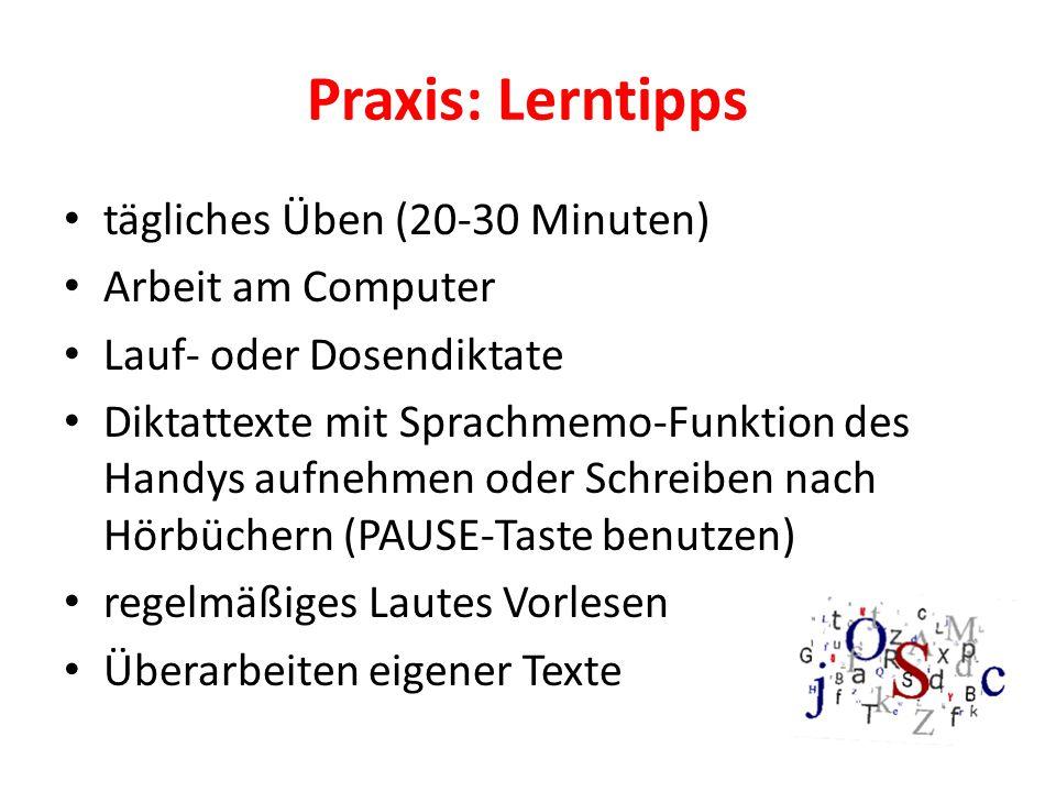 Praxis: Lerntipps tägliches Üben (20-30 Minuten) Arbeit am Computer