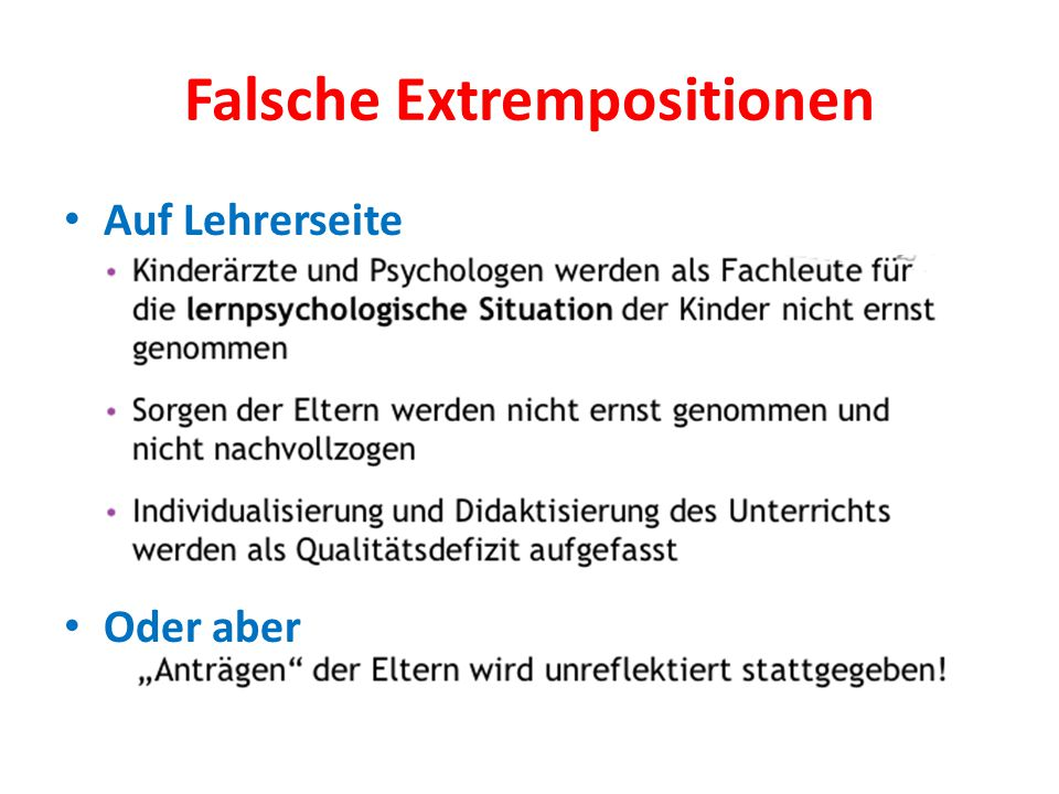Falsche Extrempositionen
