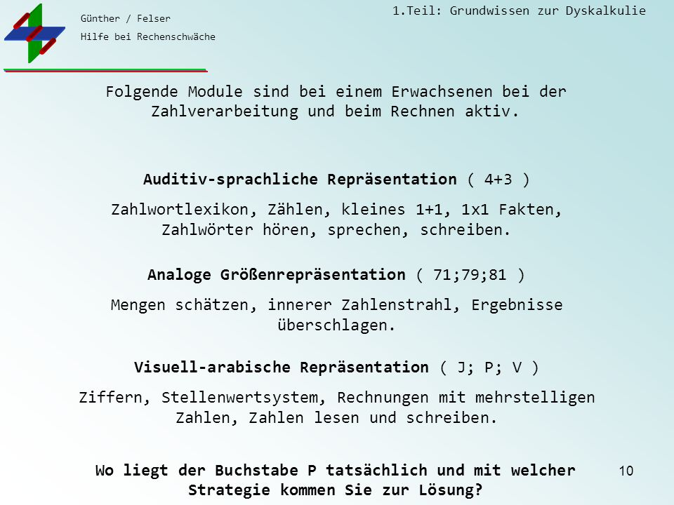 Auditiv-sprachliche Repräsentation ( 4+3 )