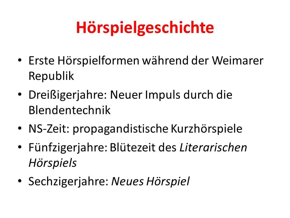 Hörspielgeschichte Erste Hörspielformen während der Weimarer Republik