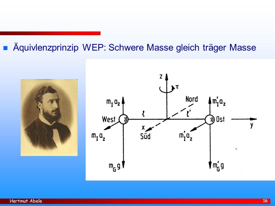 Äquivlenzprinzip WEP: Schwere Masse gleich träger Masse