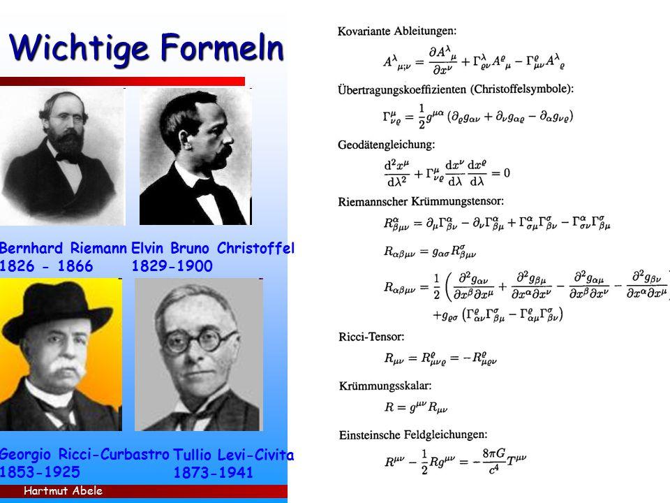 Wichtige Formeln Bernhard Riemann 1826 - 1866 Elvin Bruno Christoffel
