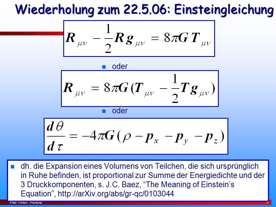Wiederholung zum 22.5.06: Einsteingleichung