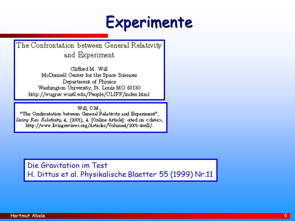 Experimente Die Gravitation im Test