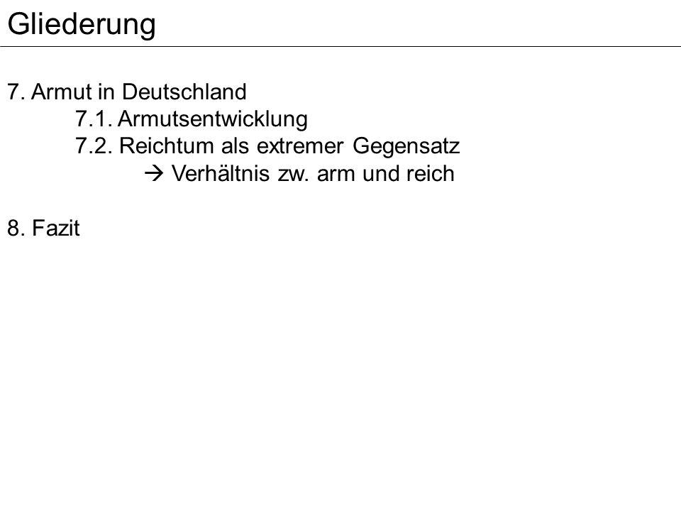 Gliederung 7. Armut in Deutschland 7.1. Armutsentwicklung