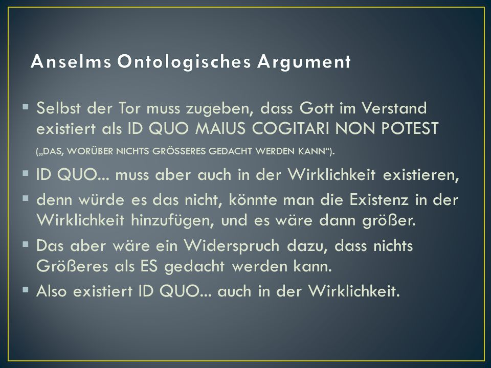 Anselms Ontologisches Argument