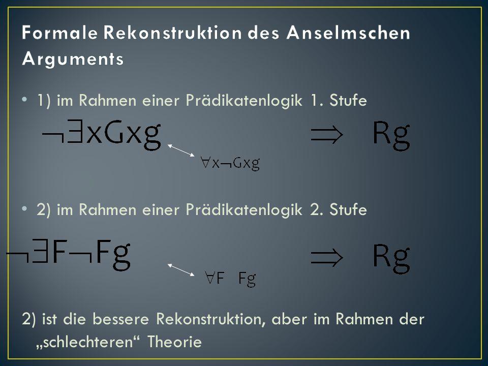 Formale Rekonstruktion des Anselmschen Arguments