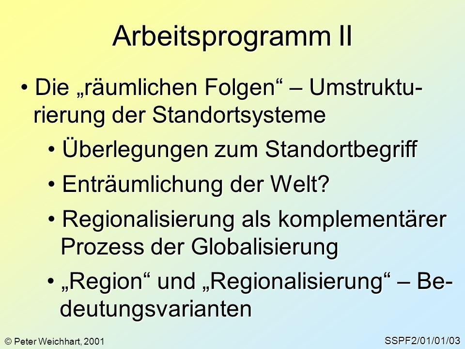 """Arbeitsprogramm II Die """"räumlichen Folgen – Umstruktu-"""