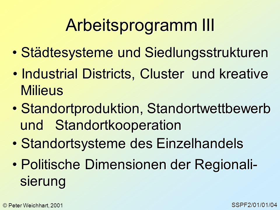 Arbeitsprogramm III Städtesysteme und Siedlungsstrukturen