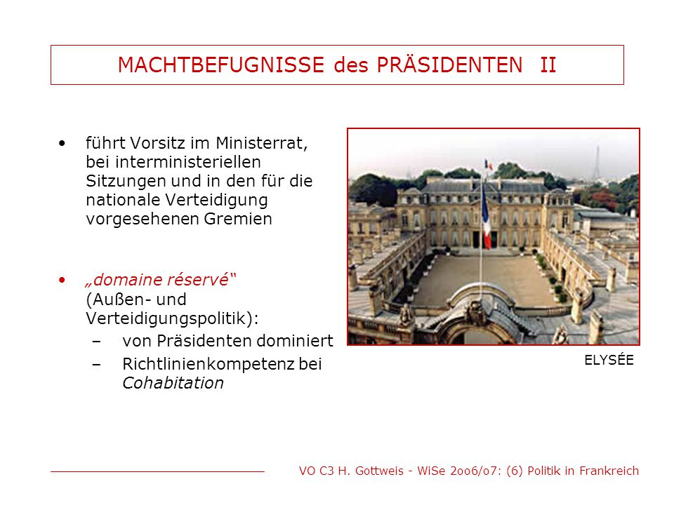 MACHTBEFUGNISSE des PRÄSIDENTEN II