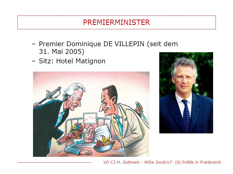 PREMIERMINISTER Premier Dominique DE VILLEPIN (seit dem 31. Mai 2005)