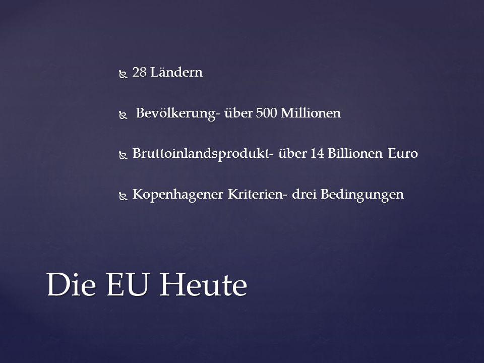 Die EU Heute 28 Ländern Bevölkerung- über 500 Millionen