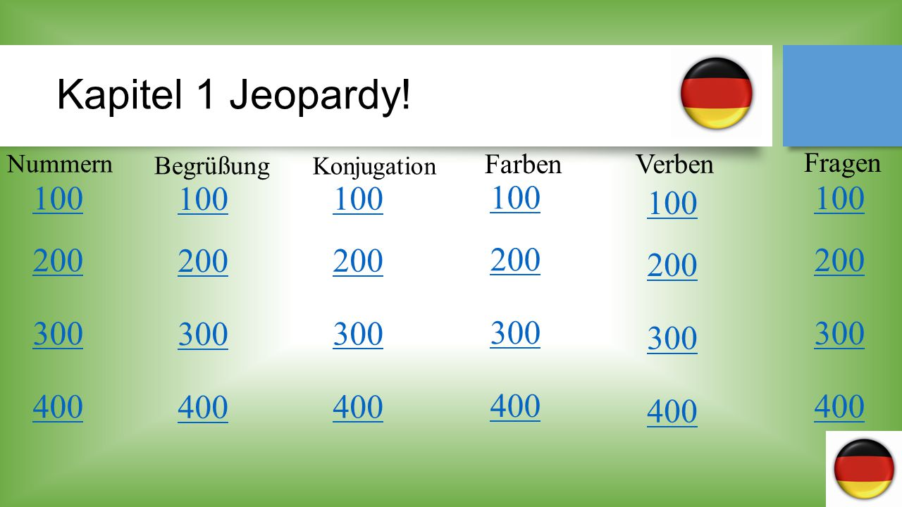 Kapitel 1 Jeopardy! Nummern. Begrüßung. Konjugation. Farben. Verben. Fragen. 100. 100. 100.