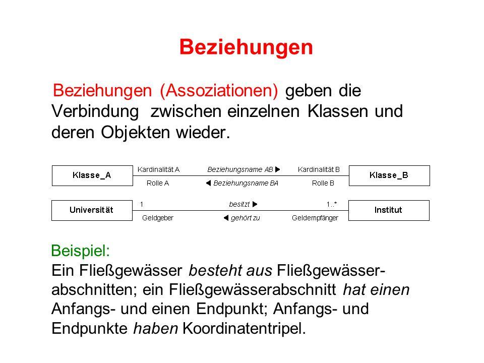 Beziehungen Beziehungen (Assoziationen) geben die Verbindung zwischen einzelnen Klassen und deren Objekten wieder.