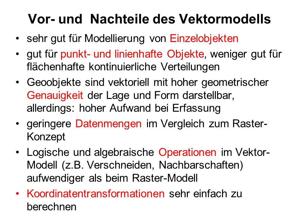 Vor- und Nachteile des Vektormodells