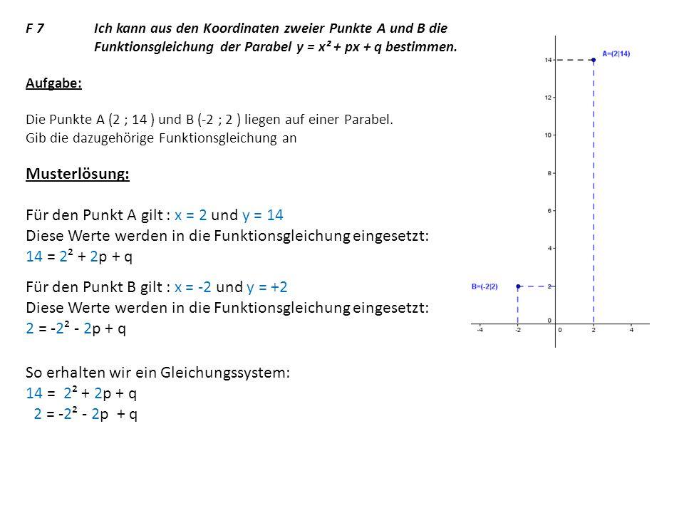 Für den Punkt A gilt : x = 2 und y = 14