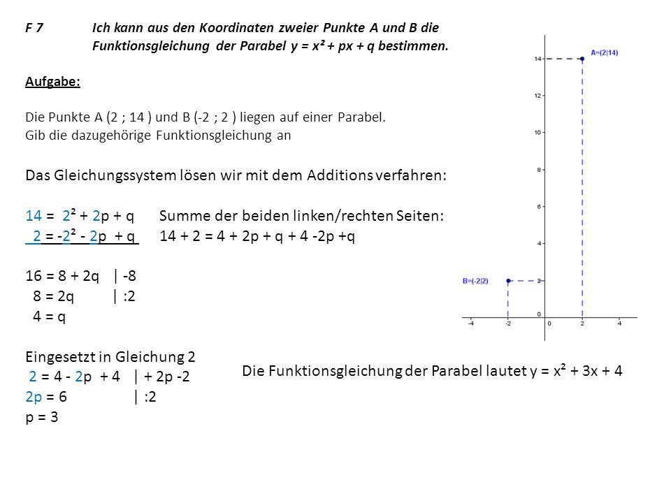 Das Gleichungssystem lösen wir mit dem Additions verfahren:
