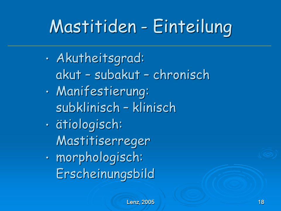 Mastitiden - Einteilung