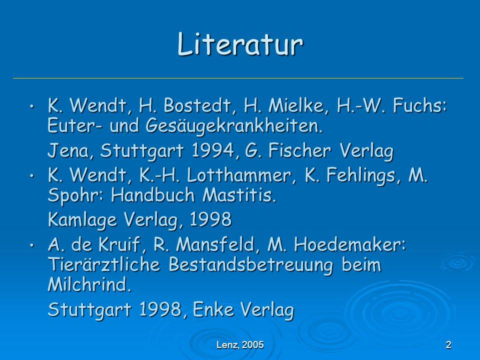Literatur K. Wendt, H. Bostedt, H. Mielke, H.-W. Fuchs: Euter- und Gesäugekrankheiten. Jena, Stuttgart 1994, G. Fischer Verlag.