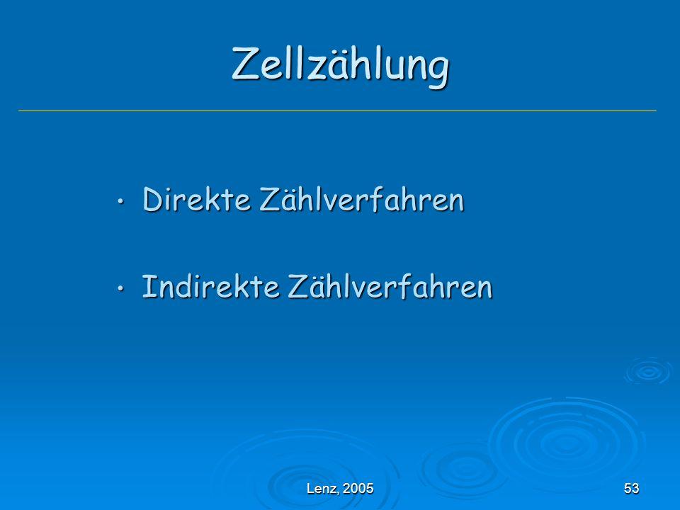 Zellzählung Direkte Zählverfahren Indirekte Zählverfahren Lenz, 2005