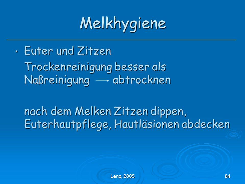 Melkhygiene Euter und Zitzen