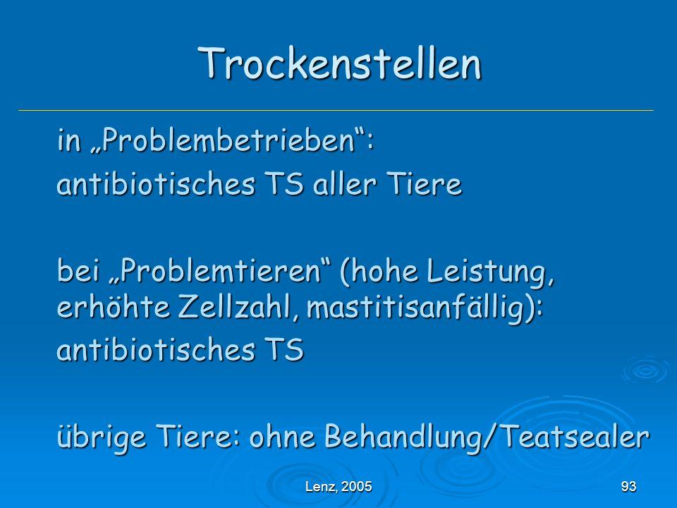 """Trockenstellen in """"Problembetrieben : antibiotisches TS aller Tiere"""